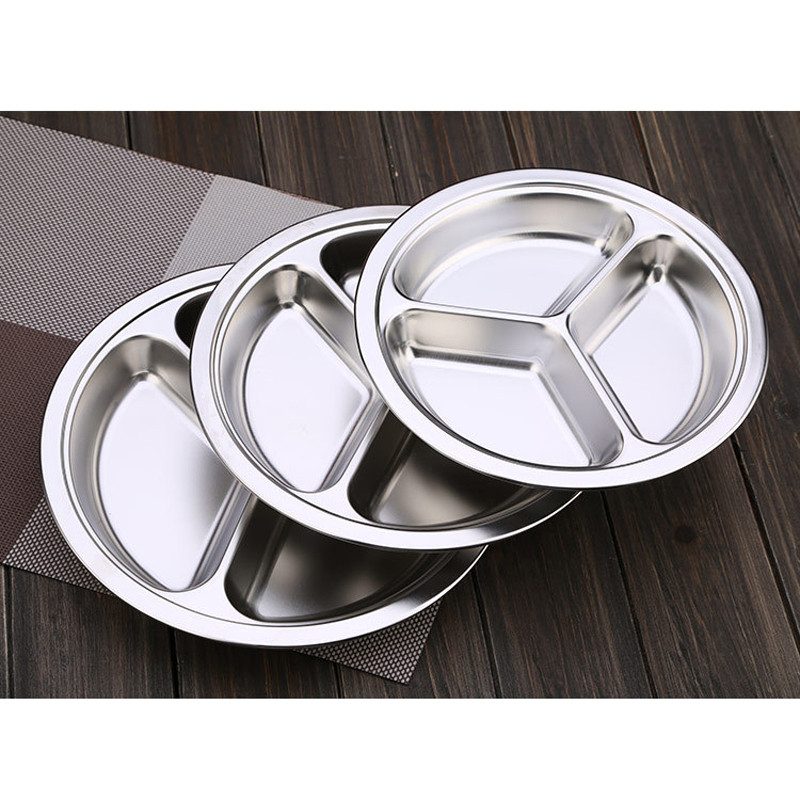 Stainless Steel Dinner Plates  Dia 22 24 26cm Stainless Steel 3 Sections Round Divided
