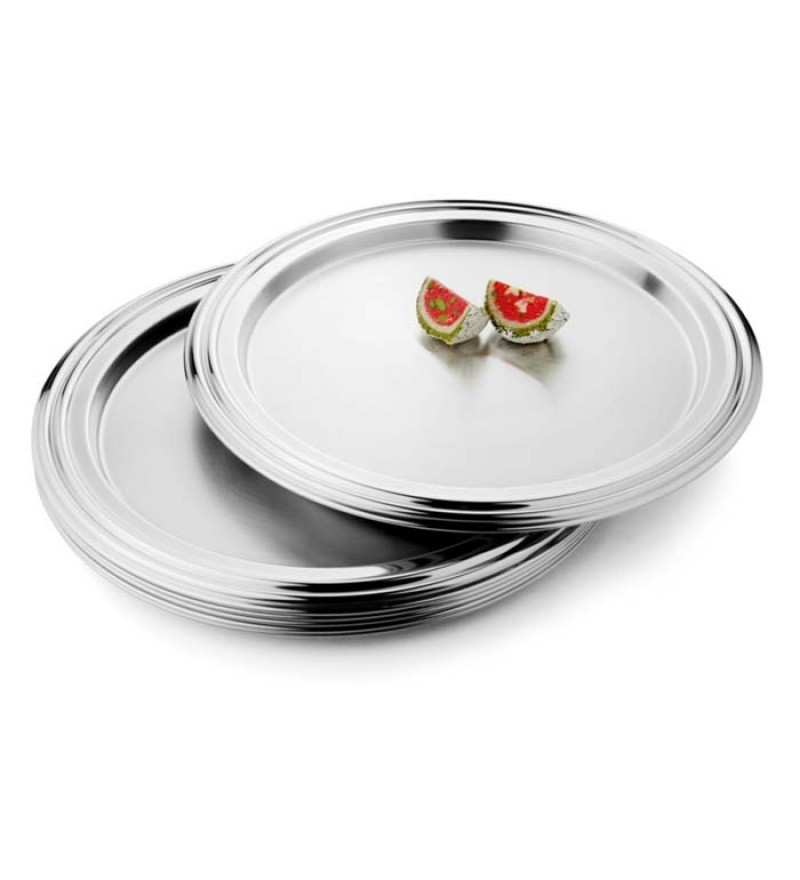 Stainless Steel Dinner Plates  Steelcraft Stainless Steel Designer Dinner Plates Set of