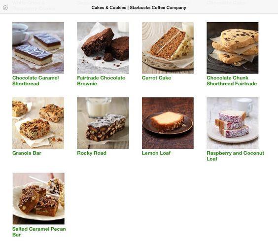 Starbucks Dessert Menu  Starbucks Cookies and Cakes on Pinterest