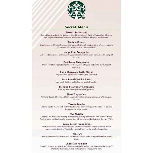 Starbucks Dessert Menu  Starbucks Secret Menu some Just ask It s awesome