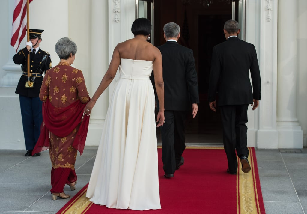 State Dinner 2016  Michelle Obama s White Gown at State Dinner August 2016