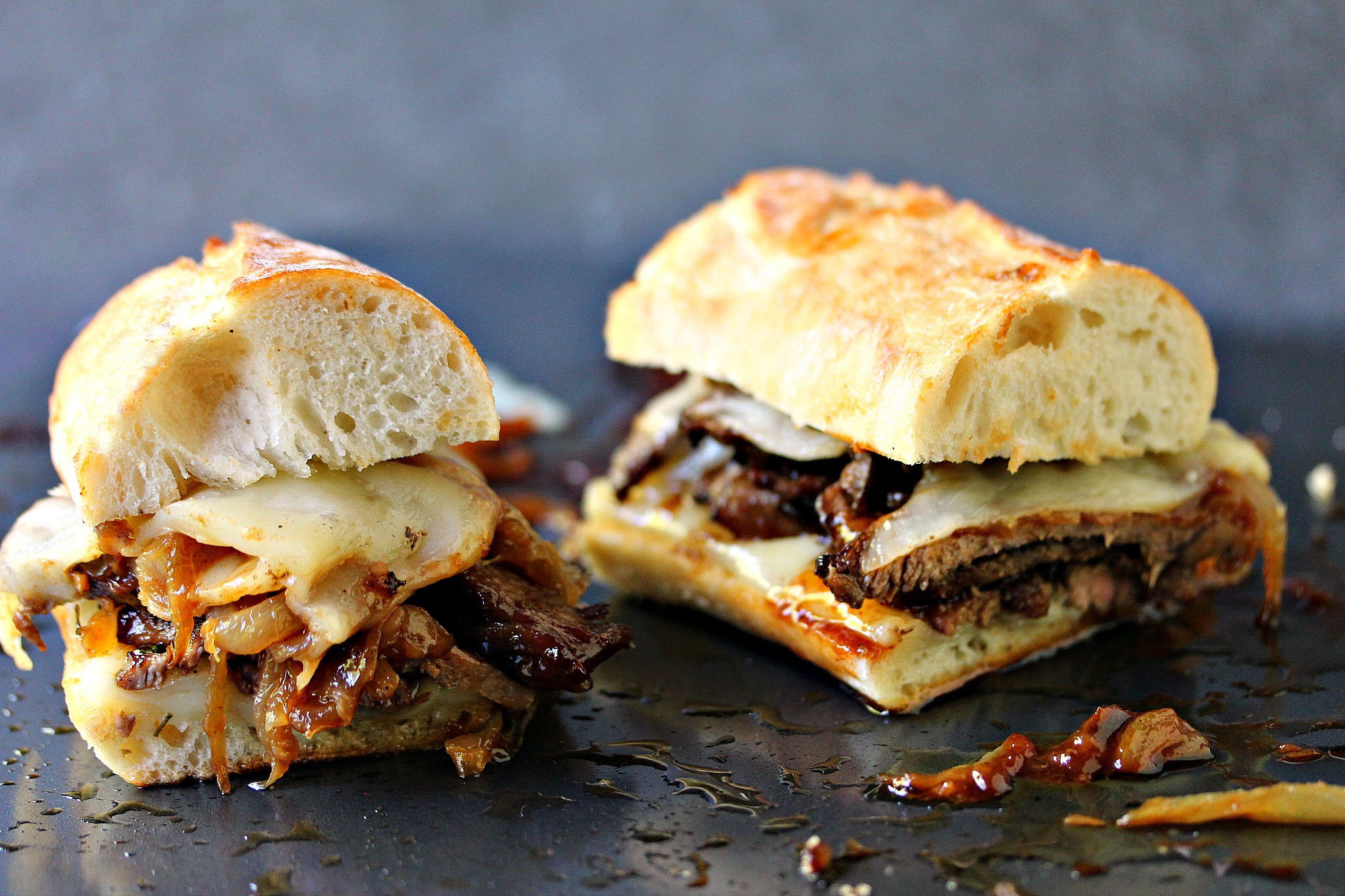 Steak And Cheese Sandwiches  Steak Sandwiches with Caramelized ions and Provolone Cheese
