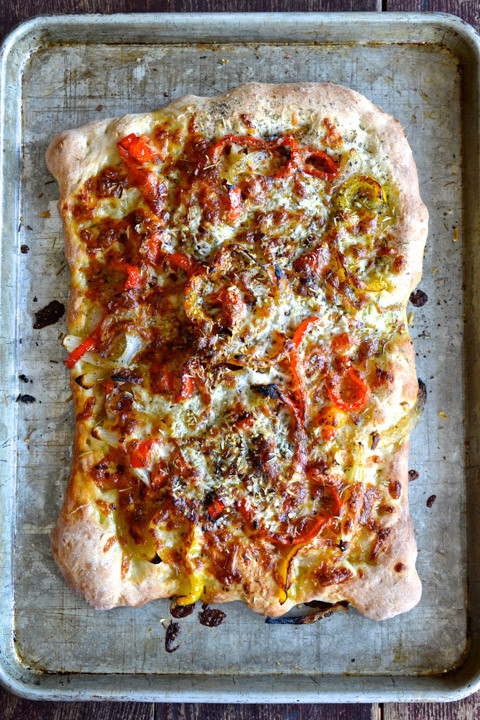 Store Bought Pizza Dough  Rosemary Focaccia with Sautéed ions & Peppers Ciao