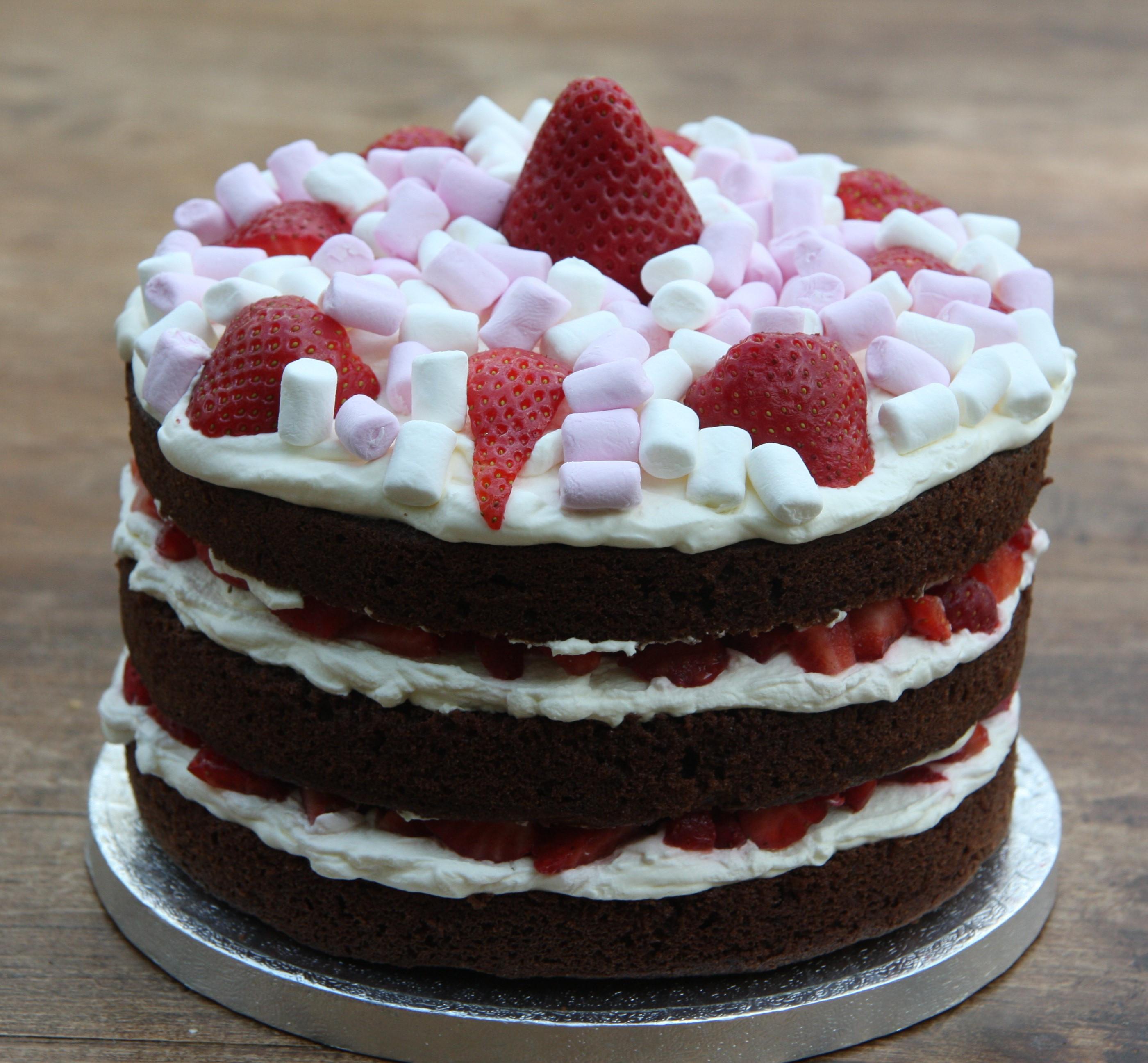 Strawberry Birthday Cake  Chocolate Birthday Cake with Strawberries and Cream and