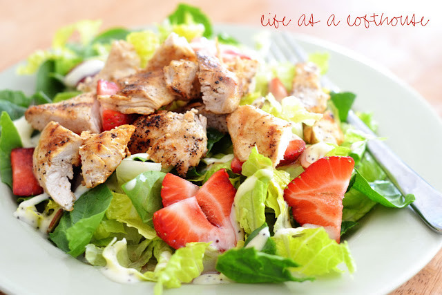 Strawberry Chicken Salad  Sticky Chicken Fingers Salad