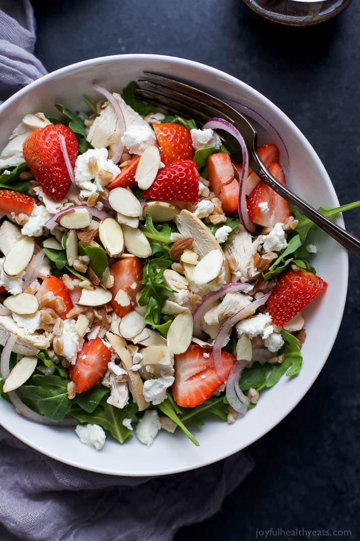 Strawberry Chicken Salad  Farro Arugula Strawberry Chicken Salad