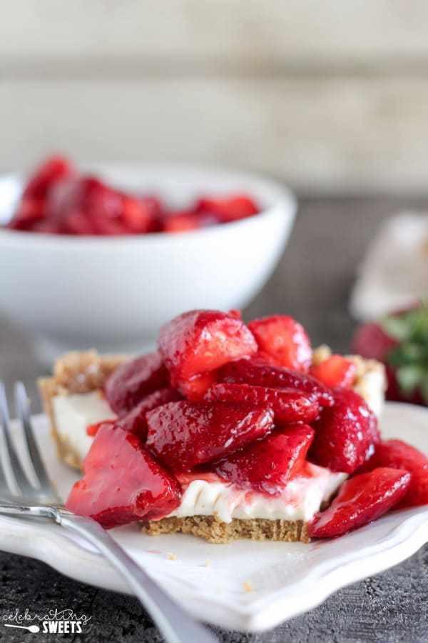 Strawberry Cream Cheese Graham Cracker Dessert  Strawberry Cream Cheese Pie Easy No Bake Pie in a Graham