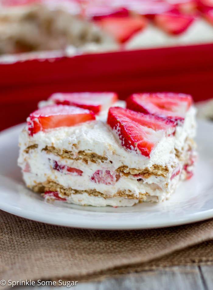 Strawberry Cream Cheese Graham Cracker Dessert  Strawberry Icebox Cake Sprinkle Some Sugar