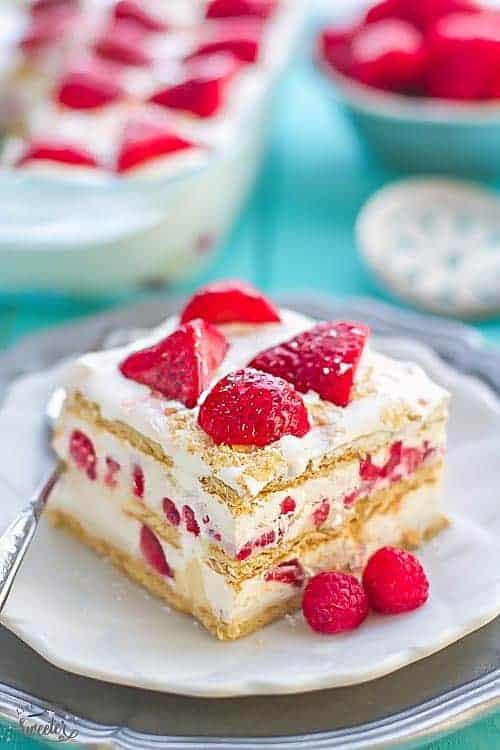 Strawberry Cream Cheese Graham Cracker Dessert  Strawberry Icebox Cake NO BAKE Cheesecake filling