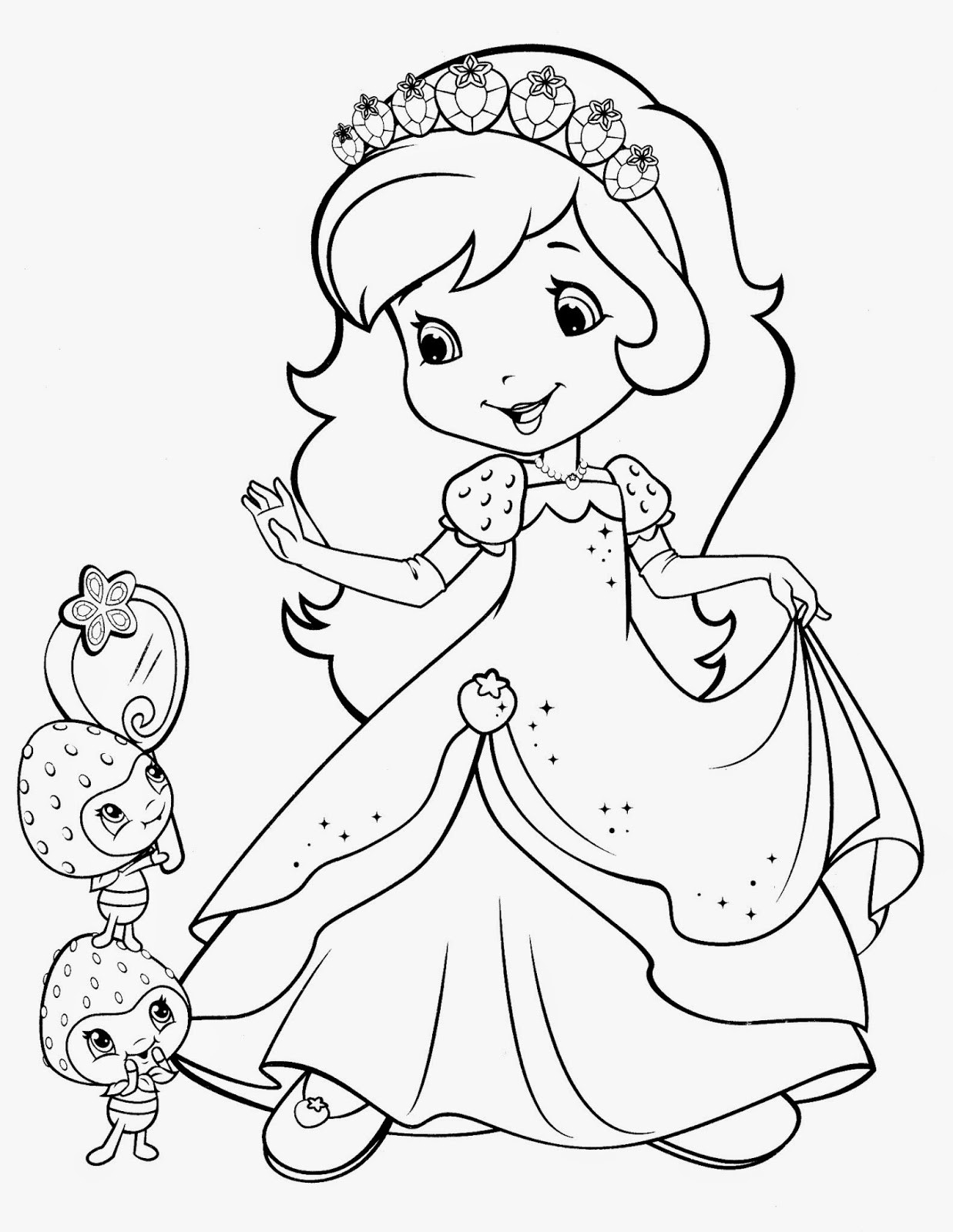 Strawberry Shortcake Coloring Page  Princess Strawberry Shortcake Coloring Pages