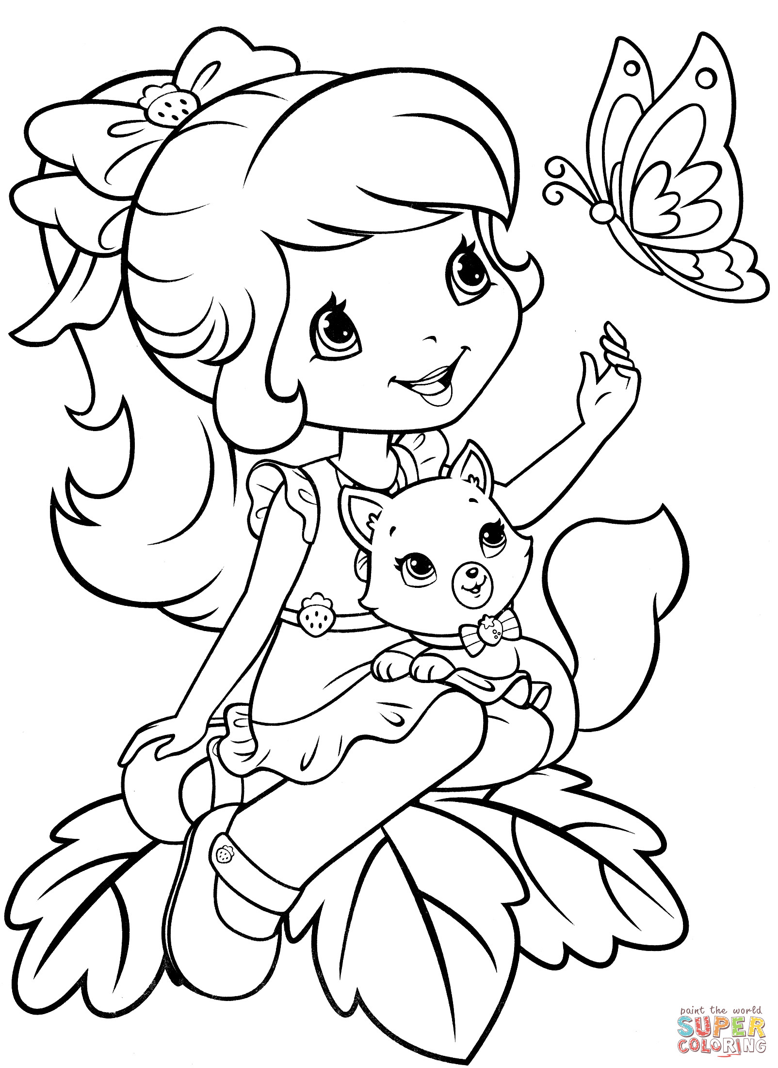 Strawberry Shortcake Coloring Page  Strawberry Shortcake with Custard and Butterfly coloring