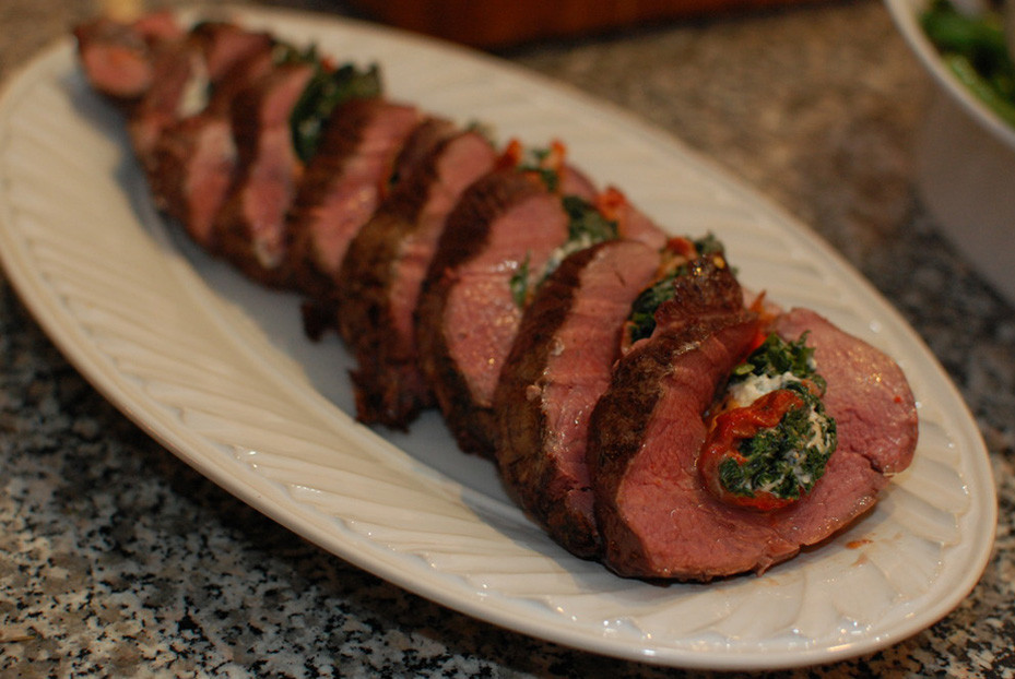 Stuffed Beef Tenderloin  Stuffed Beef Tenderloin with Red Pepper Spinach and