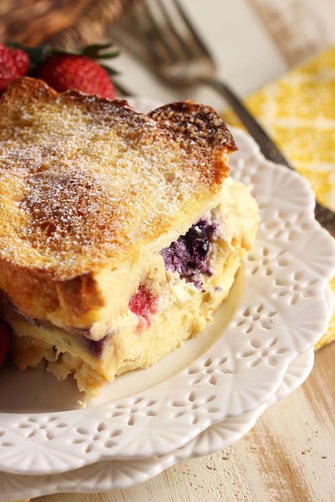 Stuffed French Toast Casserole  Triple Berry Stuffed French Toast Casserole The Suburban