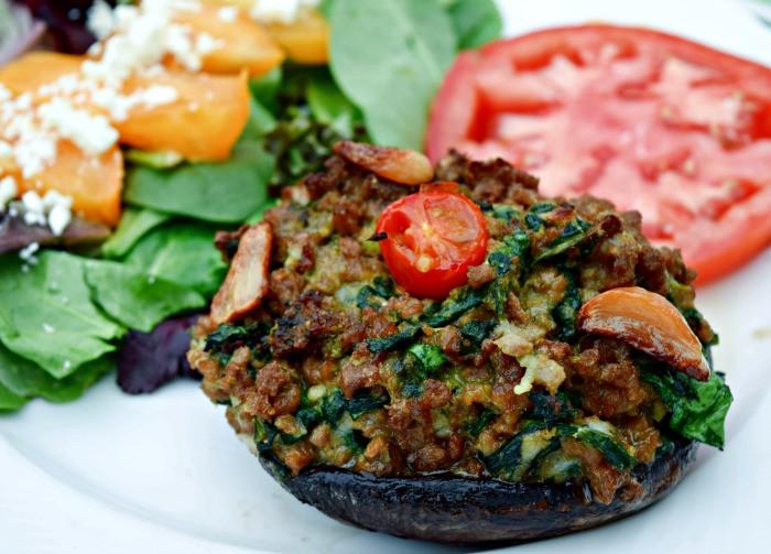 Stuffed Mushrooms Vegetarian  Pesto Spinach & Roast Garlic Stuffed Mushrooms – Vegan
