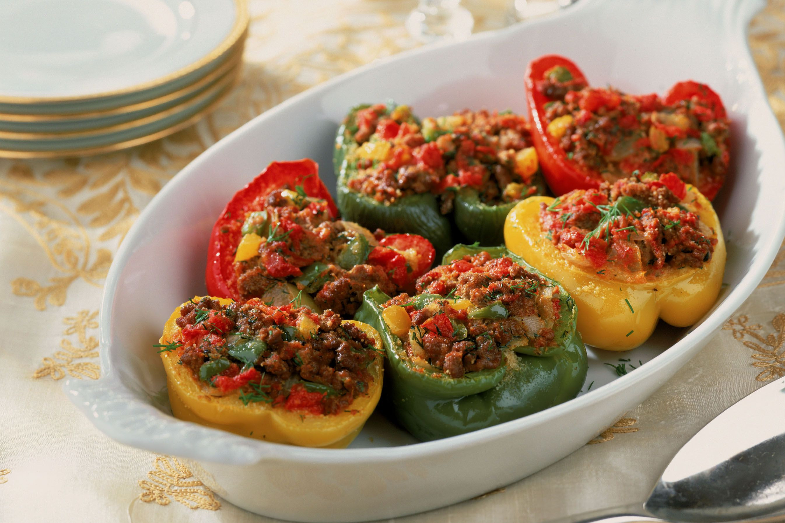 Stuffed Peppers With Ground Beef  Baked Stuffed Peppers With Ground Beef and Corn