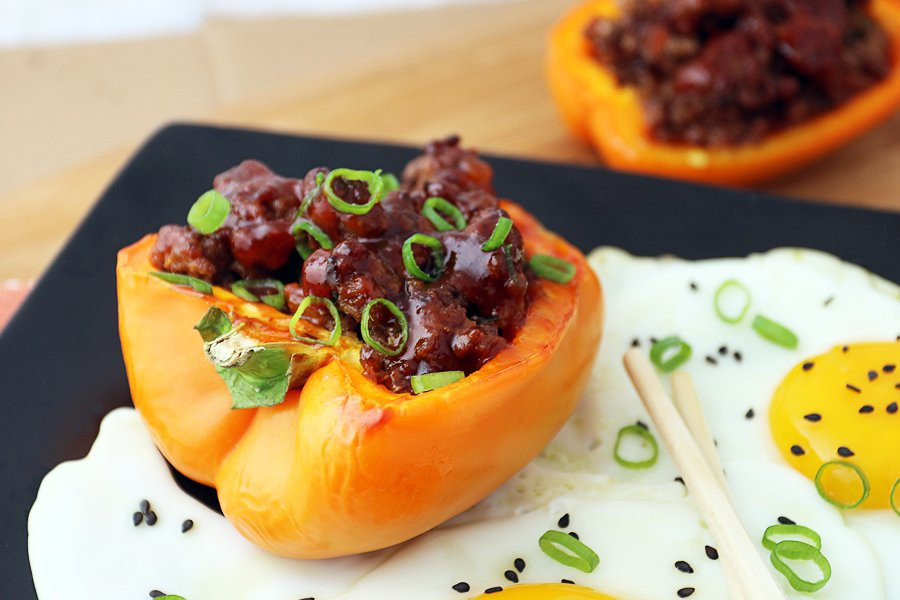 Stuffed Peppers With Ground Beef  Korean BBQ Beef Stuffed Bell Peppers
