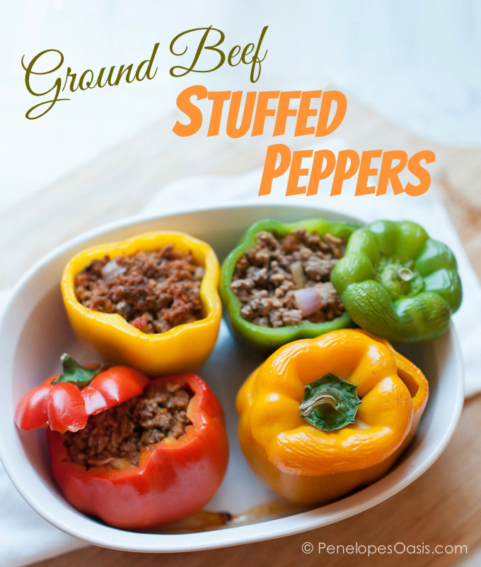 Stuffed Peppers With Ground Beef  Easy Stuffed Peppers With Meat Sauce Recipe Penelopes Oasis