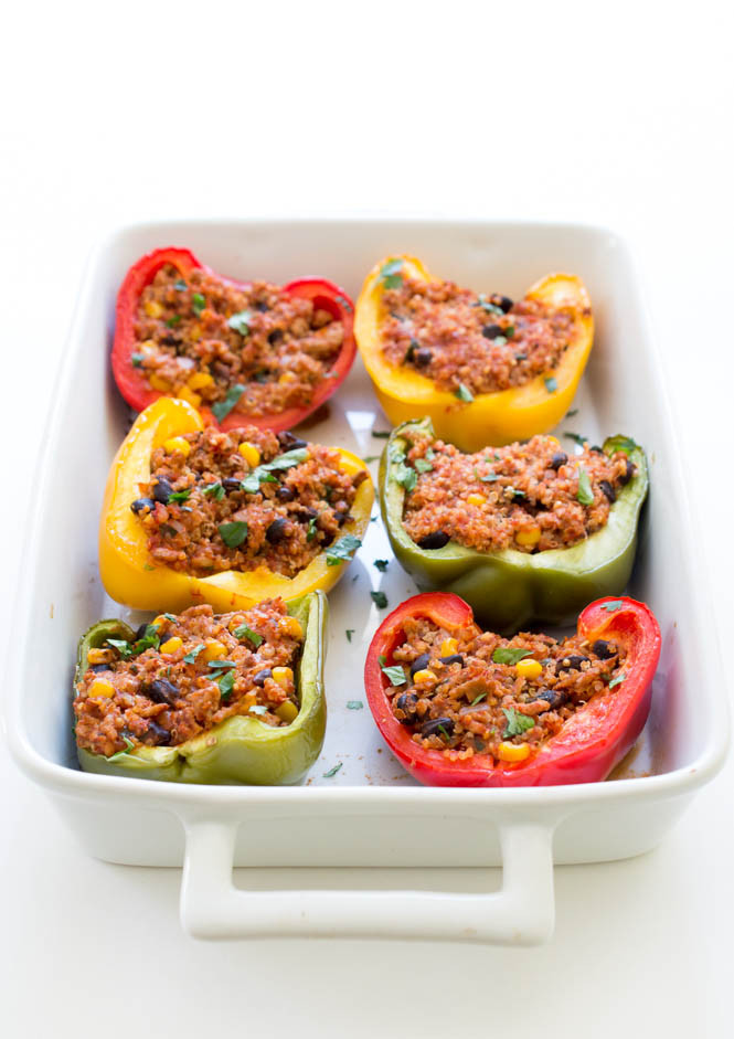 Stuffed Peppers With Ground Turkey  healthy stuffed peppers with ground turkey