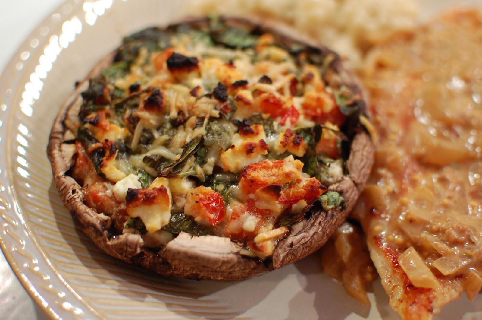 Stuffed Portabella Mushrooms  Food That Rocks Spinach & Feta Stuffed Portabella Mushrooms