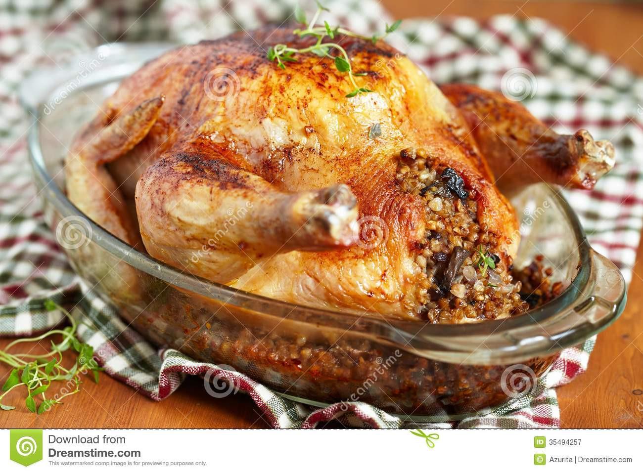 Stuffed Whole Chicken  Roasted chicken stuffed with buckwheat