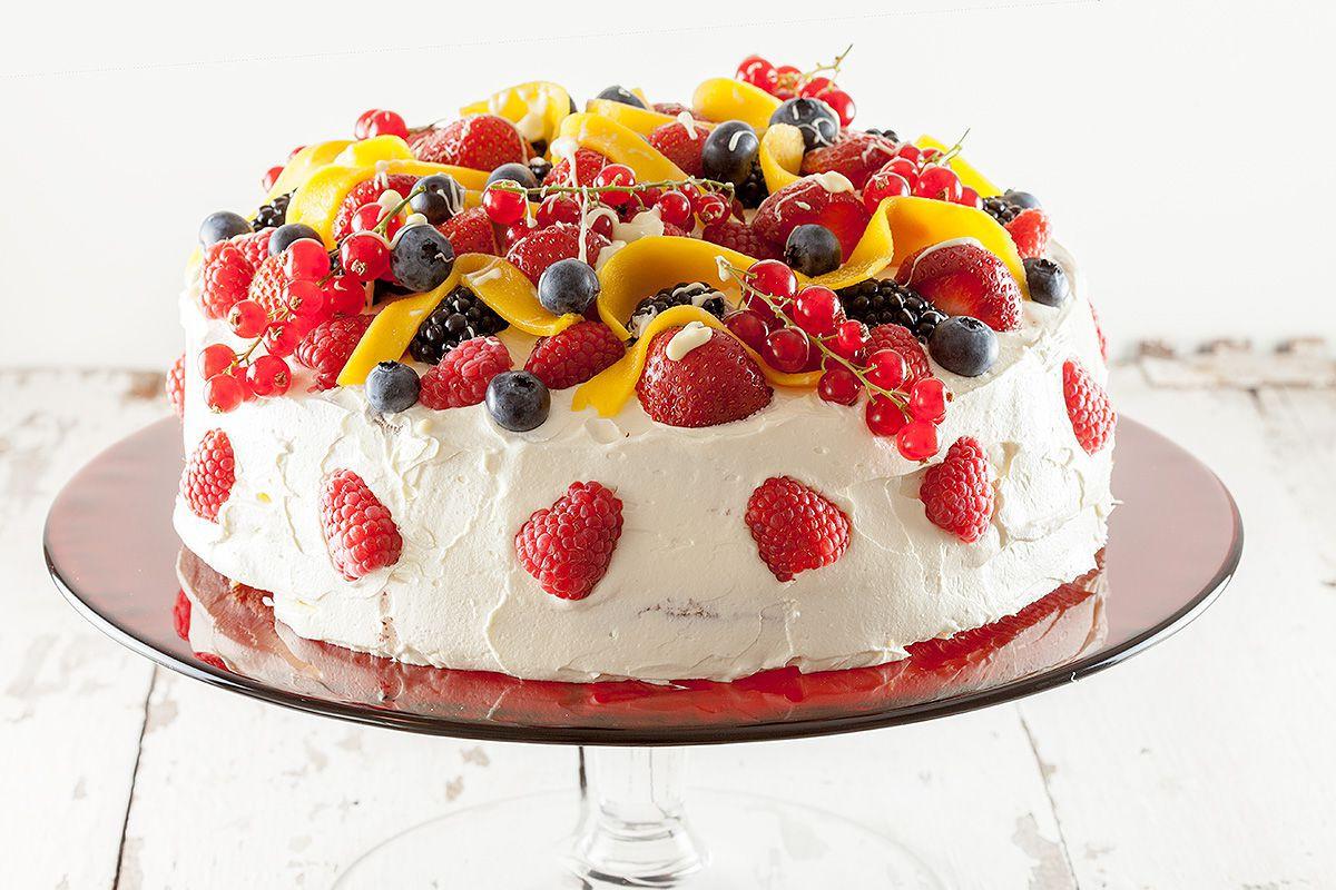 Summer Cake Recipes  Summer fruit celebration cake ohmydish
