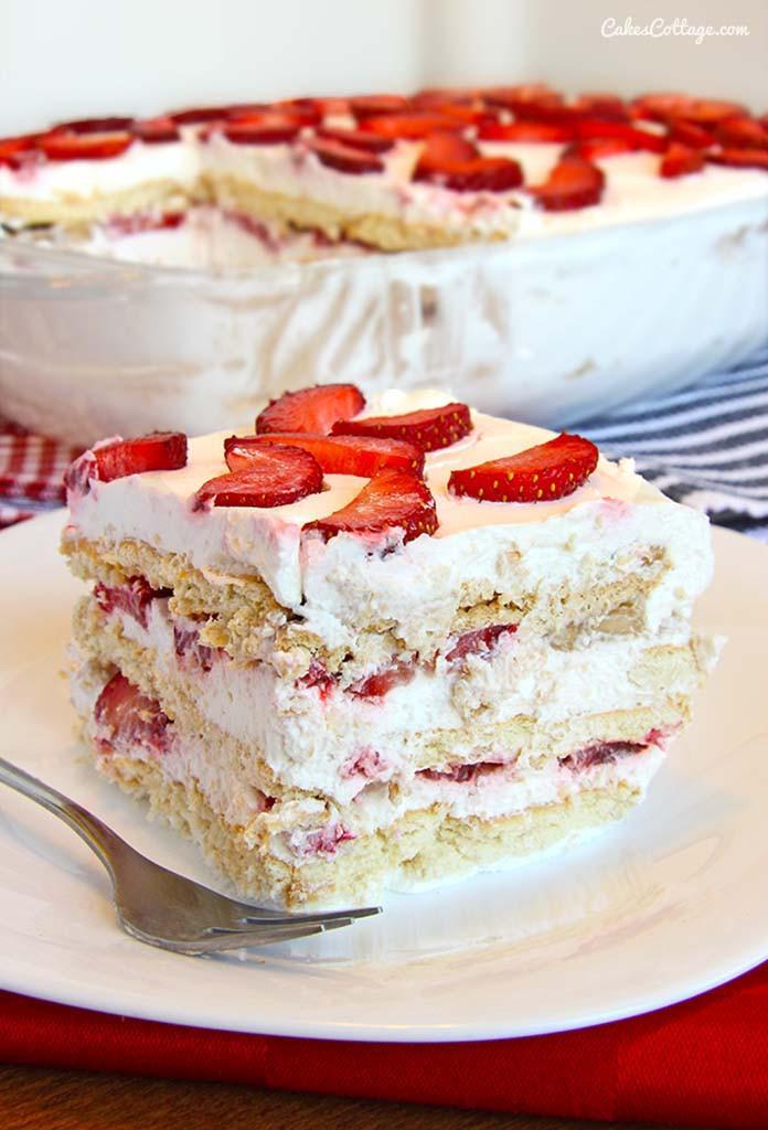 Summer Cake Recipes  No Bake Strawberry Icebox Cake Cakescottage
