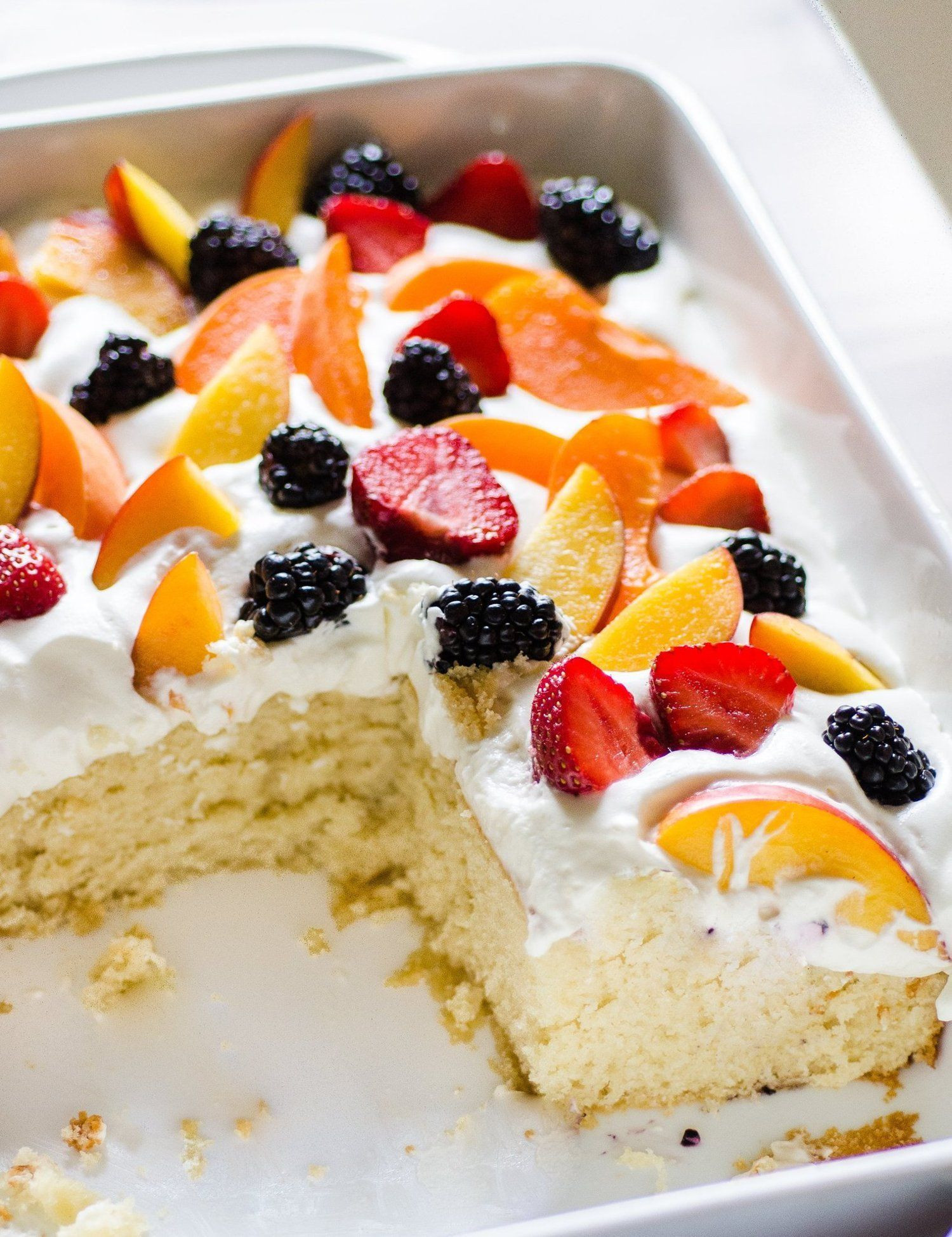 Summer Fruits Dessert  Easy Summer Cake with Fruit & Cream Recipe