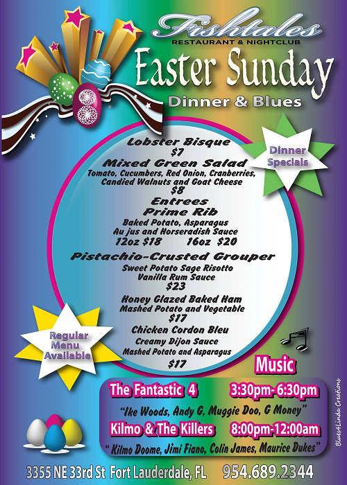 Sunday Dinner Specials  Easter Dinner Special Menu Fishtales Restaurant & Nightclub