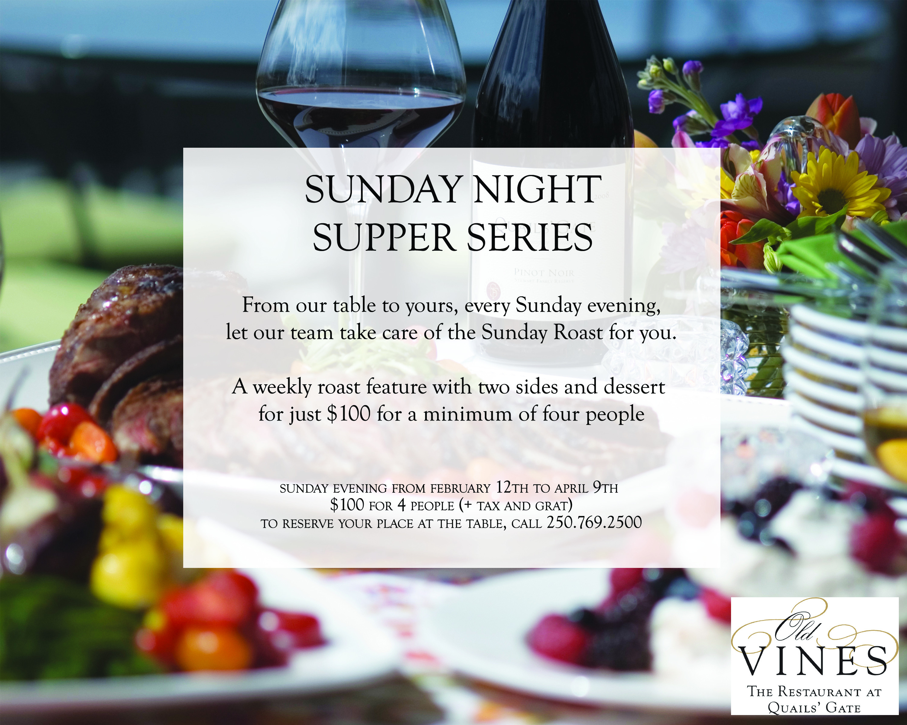 Sunday Dinner Specials  Sunday Night Suppers at Old Vines Restaurant