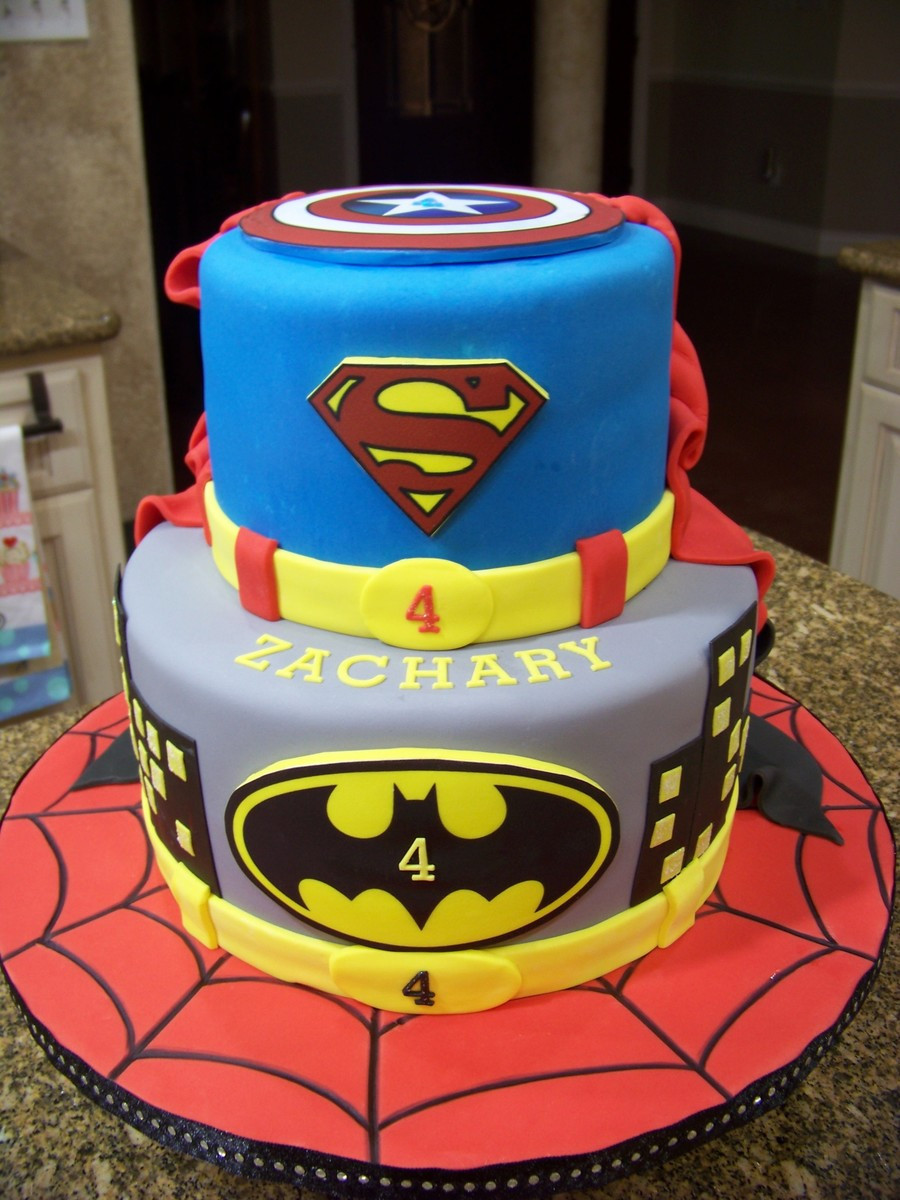 Superman Birthday Cake  Superhero Cake Spiderman Batman Superman & Captain