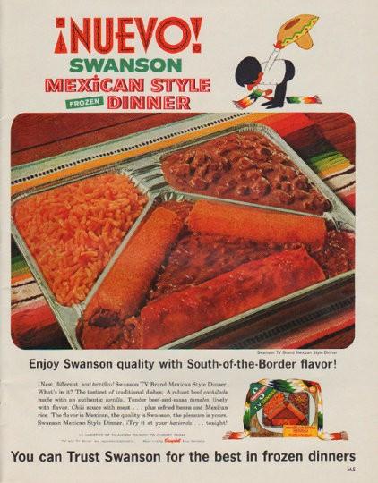 "Swanson Frozen Dinners  1963 Swanson Frozen Dinner Vintage Ad ""Nuevo"
