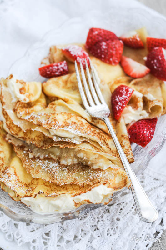 Sweet Cream Pancakes  Polish Sweet Cream Cheese Pancakes Nalesniki