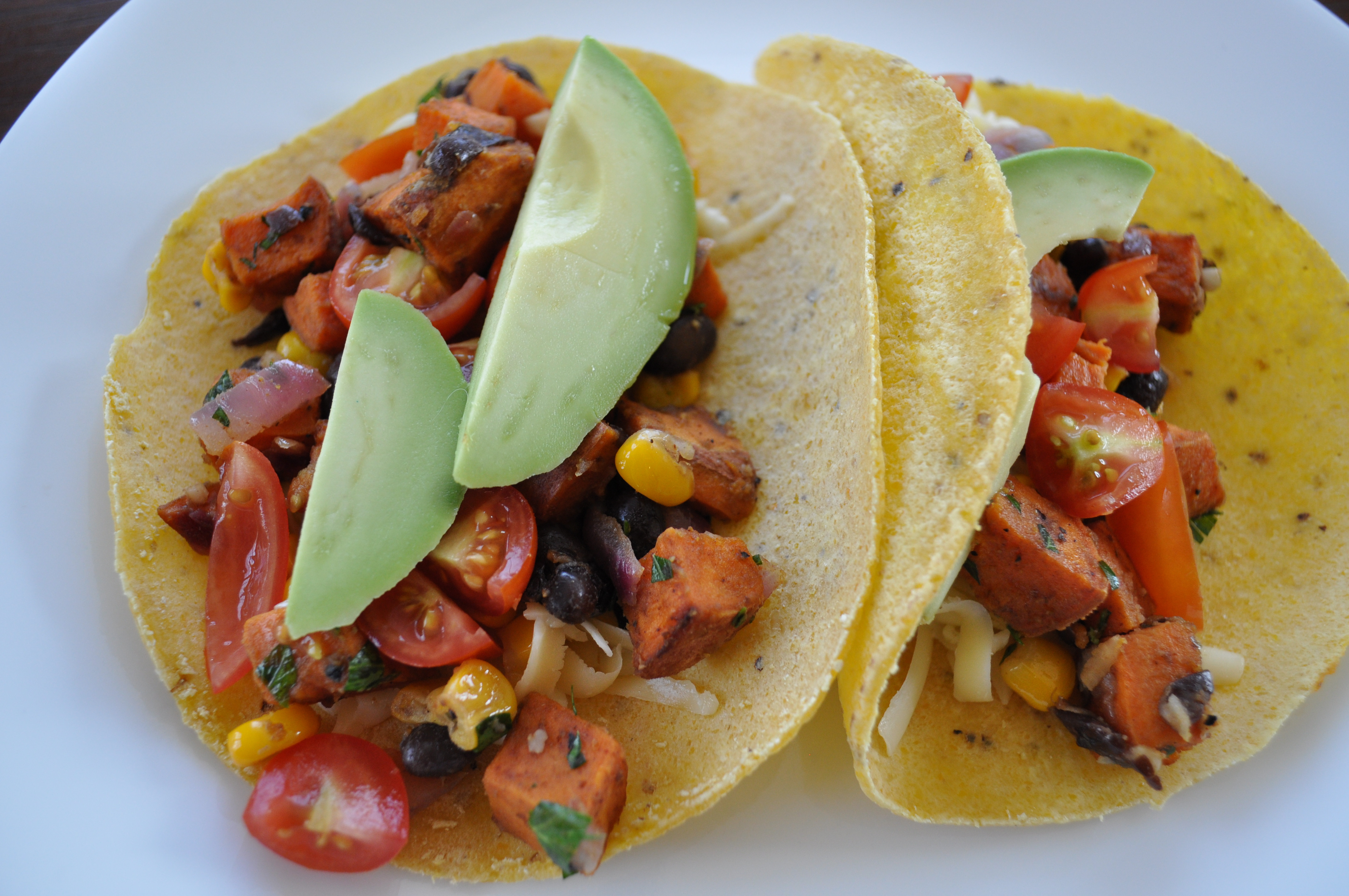 Sweet Potato And Black Bean Tacos  Sweet Potato Tacos with Black Beans and Corn