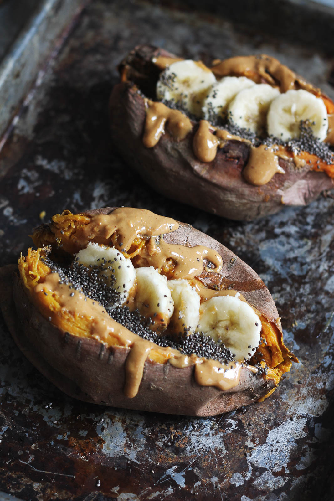 Sweet Potato Baked  Breakfast Baked Sweet Potatoes with Almond Butter