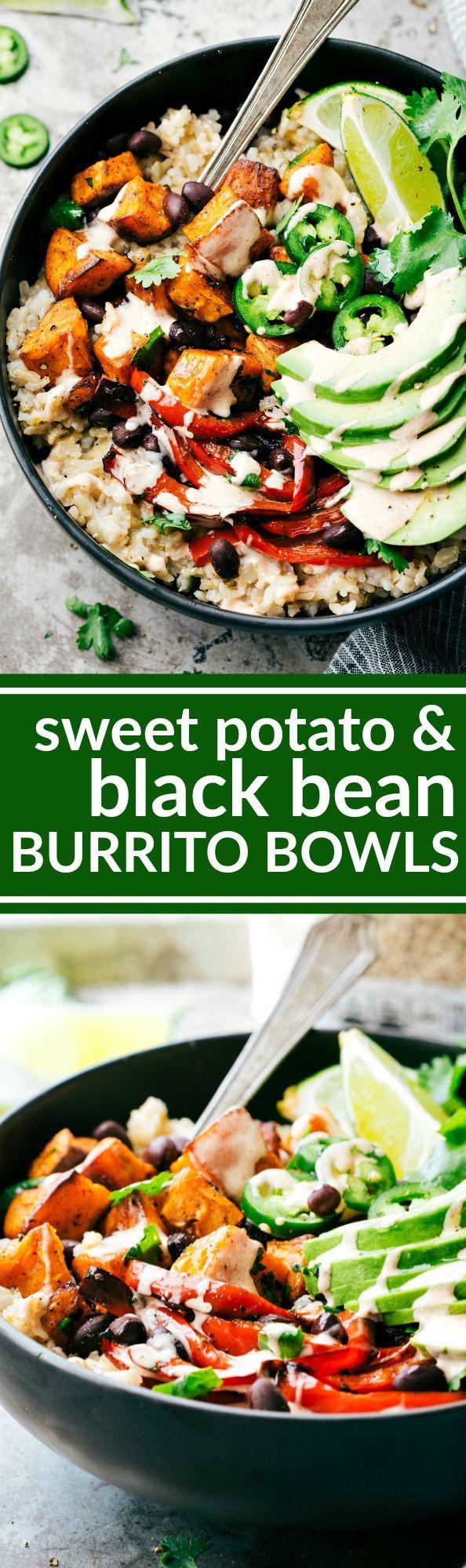 Sweet Potato Black Bean  Easy Sweet Potato & Black Bean Burrito Bowls Recipe