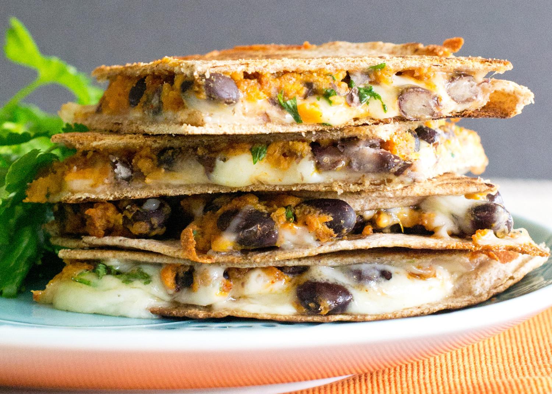Sweet Potato Black Bean  vegan black bean sweet potato quesadillas