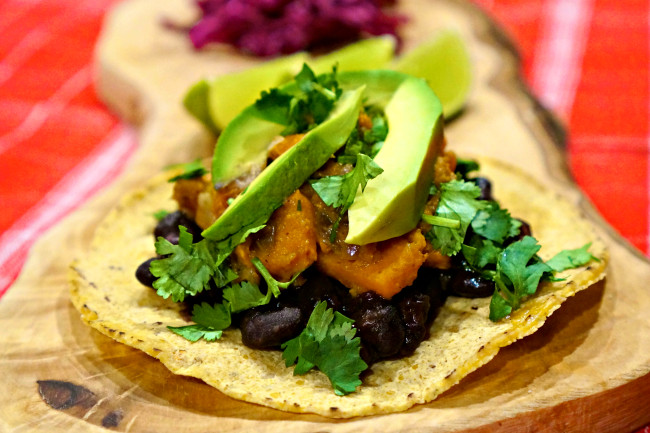 Sweet Potato Black Bean Tacos  Black Bean and Sweet Potato Tacos w Red Cabbage Slaw My