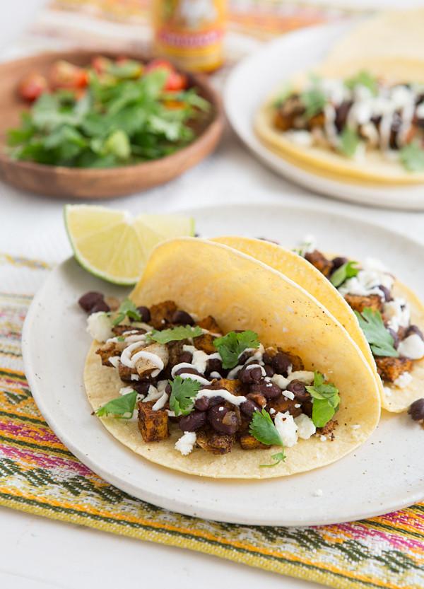 Sweet Potato Black Bean Tacos  Roasted Sweet Potato & Black Bean Tacos Recipe