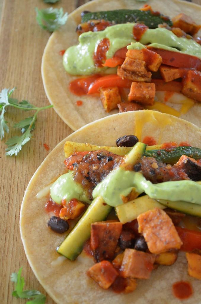 Sweet Potato Black Bean Tacos  Sweet Potato Black Bean Tacos & Avocado Cream