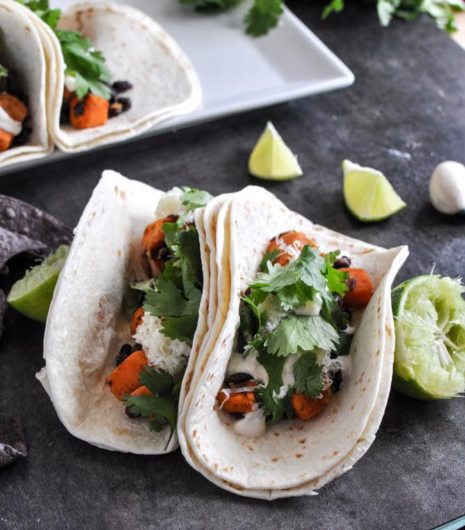 Sweet Potato Black Bean Tacos  Smoky Sweet Potato and Black Bean Tacos with Chipotle Lime