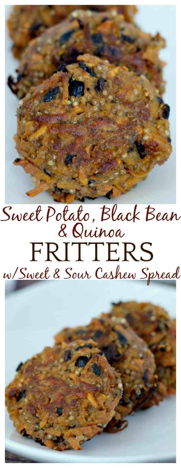 Sweet Potato Black Bean  Sweet Potato Black Bean & Quinoa Fritters with Sweet