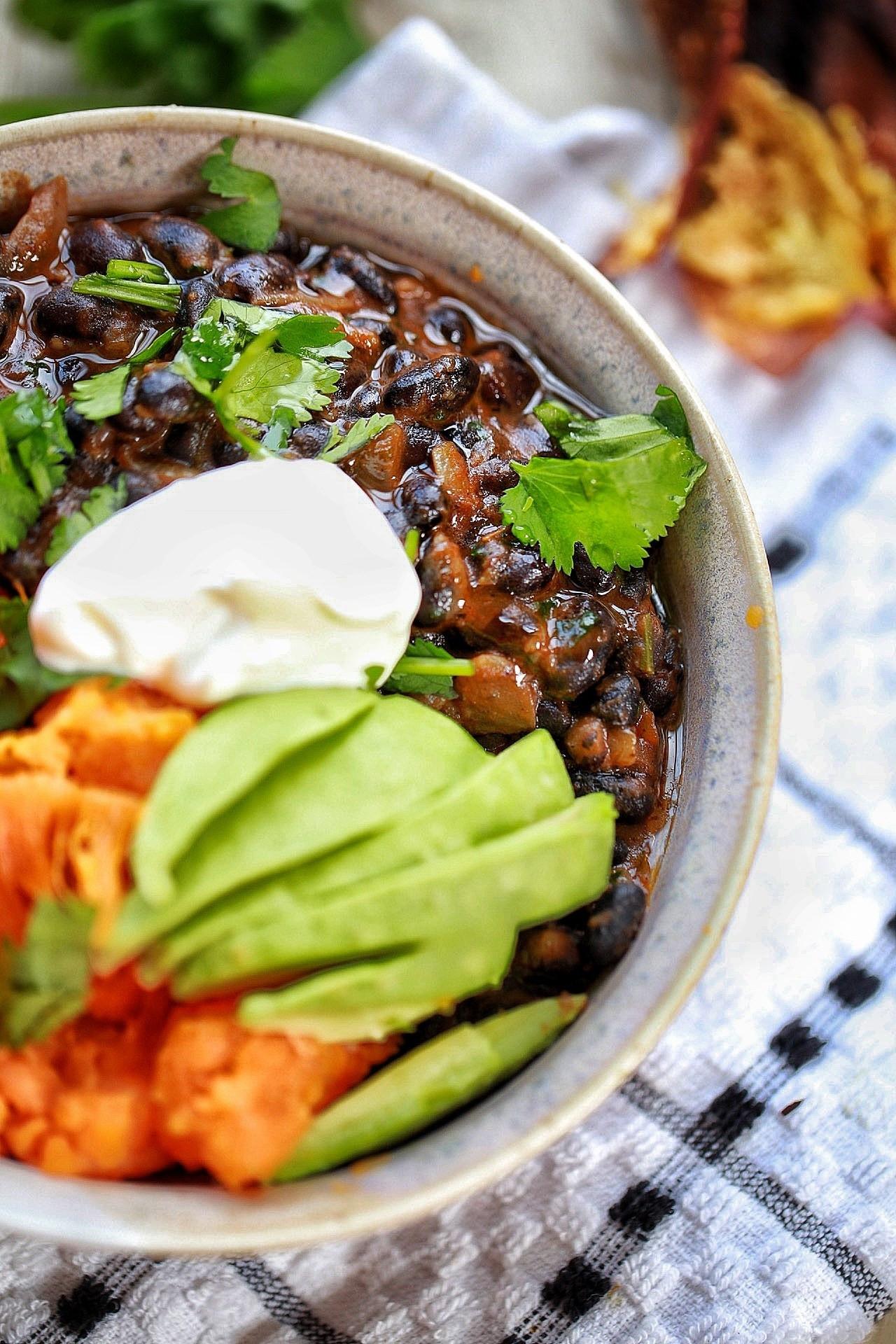 Sweet Potato Bowl  Cuban Black beans and baked sweet potato bowl