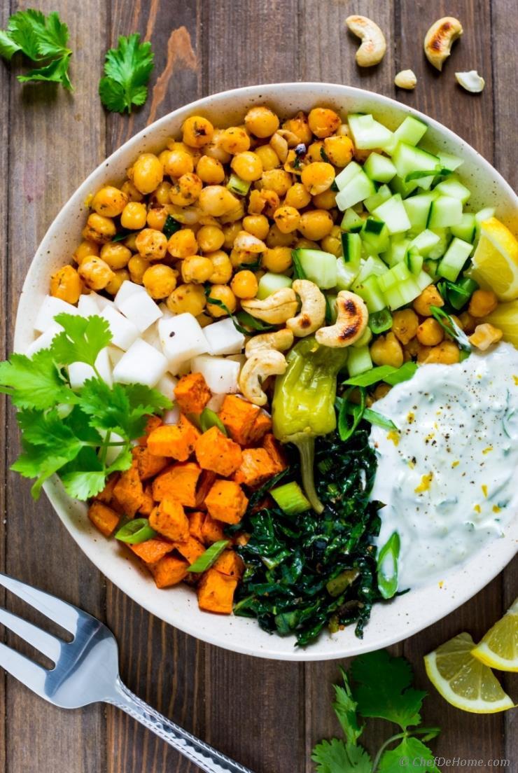 Sweet Potato Bowl  Spicy Chickpeas and Sweet Potato Salad Bowl Recipe