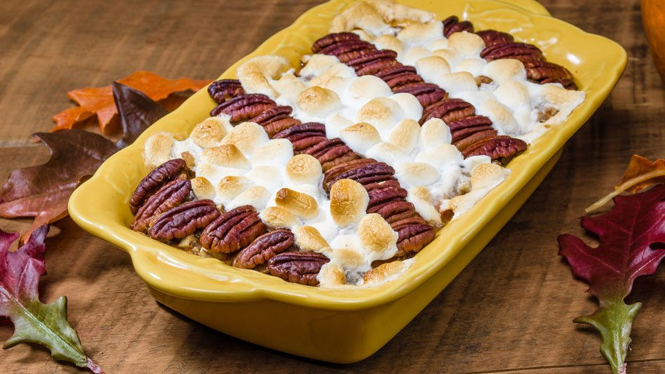 Sweet Potato Casserole With Marshmallows And Pecans  Sweet Potato Casserole with Pecans and Marshmallows Wide