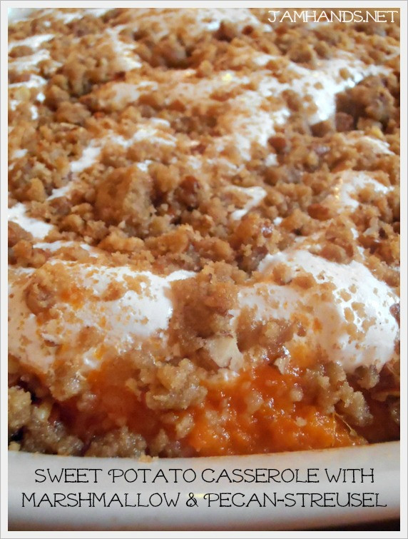 Sweet Potato Casserole With Marshmallows And Pecans  sweet potato casserole with pecan and marshmallow topping