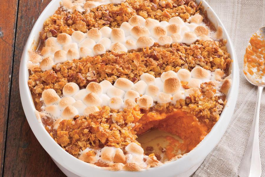 Sweet Potato Casserole With Marshmallows And Pecans  Cornflake Pecan and Marshmallow Topped Sweet Potato