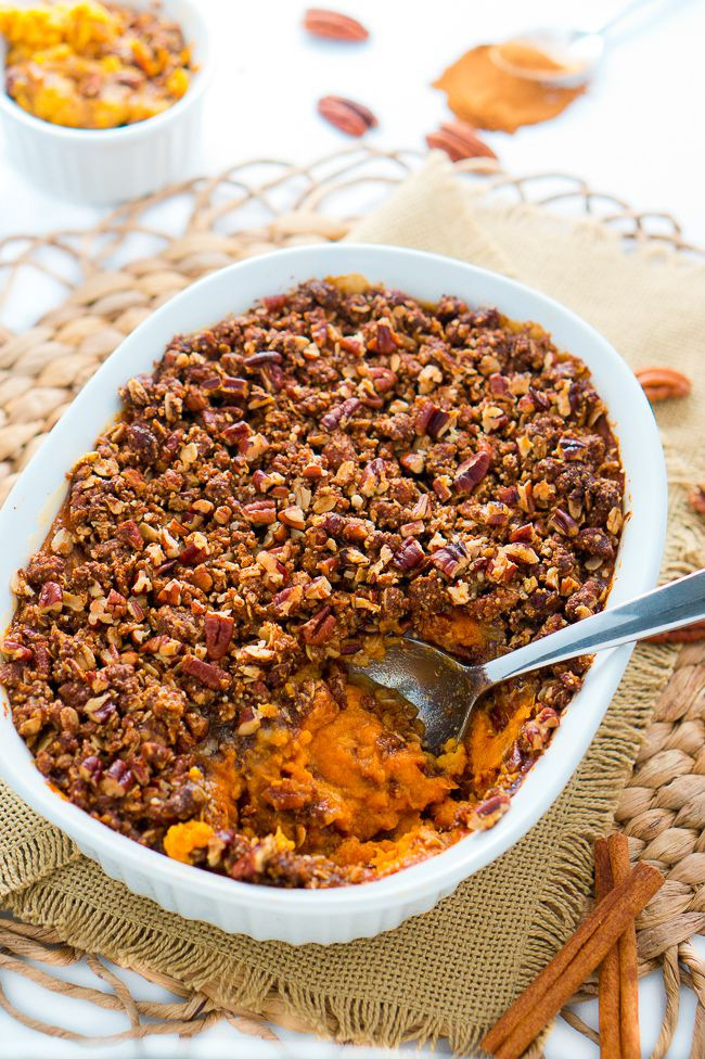 Sweet Potato Casserole With Pecans  sweet potato souffle with pecan topping