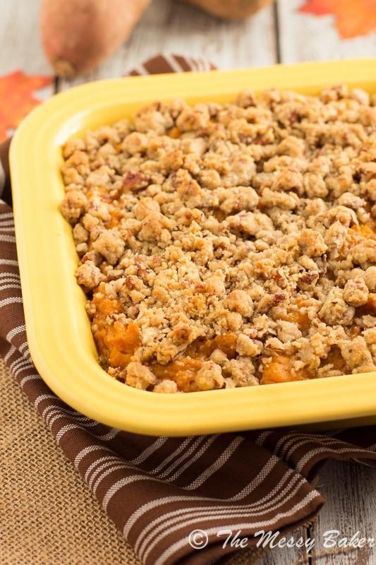 Sweet Potato Casserole With Pecans  Pecan Streusel Topped Sweet Potato Casserole e Sweet Mess