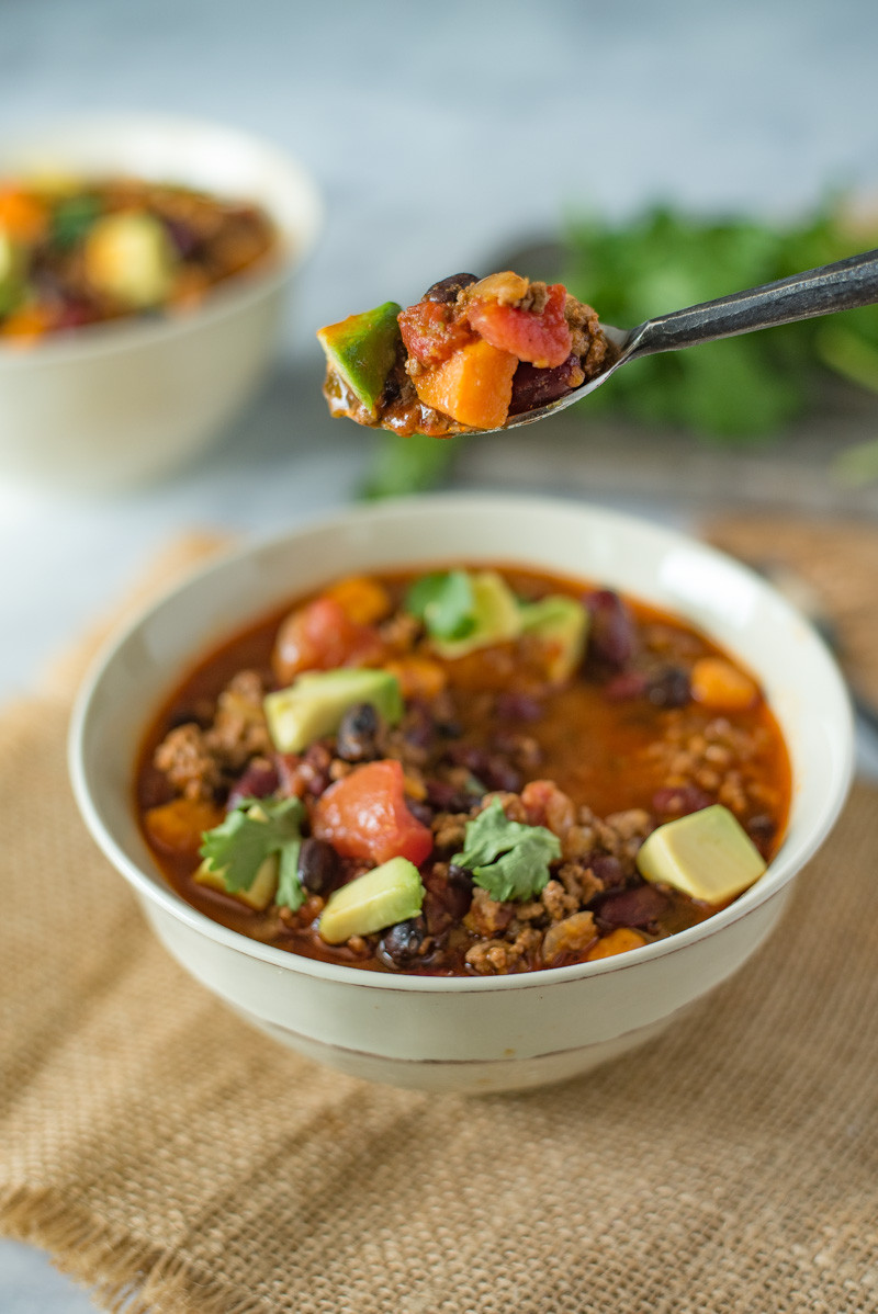 Sweet Potato Chili Slow Cooker  Slow Cooker Beef and Sweet Potato Chili
