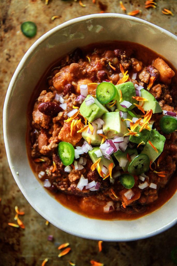 Sweet Potato Chili Slow Cooker  Slow Cooker Turkey Sweet Potato Chili Heather Christo